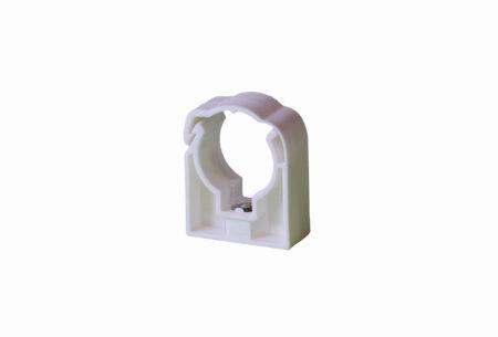 Plastová příchytka na potrubí z PLASTU jednoduchá bílá