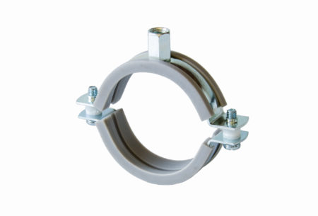 Two-screw silicone/slide pipe clamp with clamping head M8/M10
