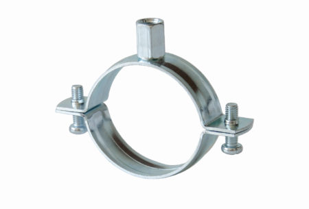 Two-screw pipe clamp without rubber lining, type M8 clamping head and M8/10 combined head