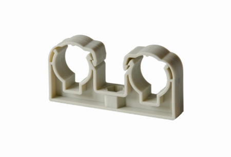 Duble plastic pipe clips for PLASTIC pipes – grey