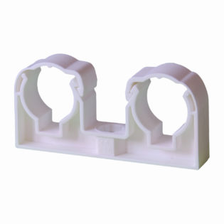 Double plastic pipe clips for PLASTIC pipes – white